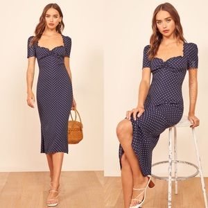 REFORMATION Navy Pink Marfa Polka Dot Dress